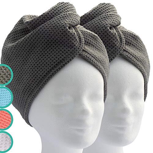 ELEXACARE Haarturban, Turban Handtuch mit Knopf (2 Stück anthrazit), Mikrofaser Handtuch für Kopf und Lange Haare